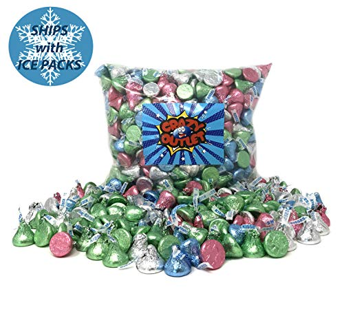 CrazyOutlet Pack - Mothers Day Hershey's Kisses Milk Chocolate Pastel Spring Colors Candy Bulk Pack, 2 lbs