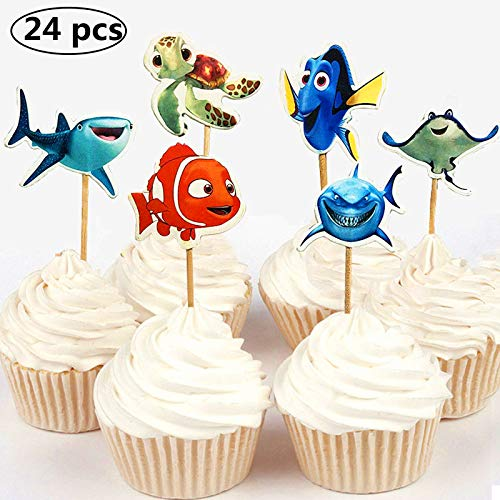 NF orange 24pc Finding Dory Marlin Nemo Destiny Candy Bar Cupcake Topper for Baby Shower Kids Birthday Party -