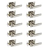 10 Pack Probrico Square Door Lever Door Lock Handle Lockset Keyless Doorknobs Passage Knobs Lockset Interior Hallway Passage Closet in Satin Nickel