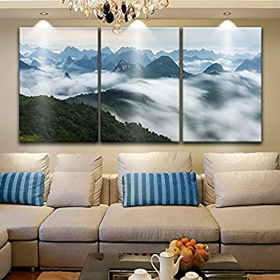 Amazing Technique, 3 Panel Landscape of Mountains Among The Clouds x 3 Panels, Original Creation