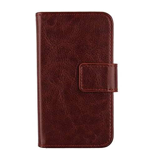(Gukas Color PU Wallet Flip Leather with Card Slots Design Cover Skin Protective Case Shell For BLU Win HD W510 W510u W510l (Brown))