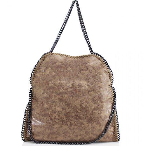 Shoulder Women Satchel bags Detail clicktostyle Chain Ladies Bag Tote Large Handbag Clay Fashion Khakki FxwB5vwq8