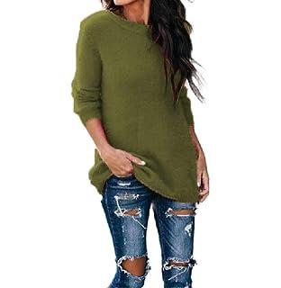 Abetteric Women Fall Winter Lace Soft Plush Thermal Pullover Sweatshirt