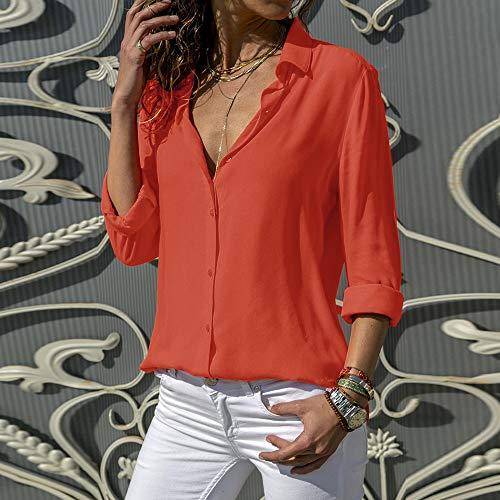 Blouse Manches Couleur Longues V laamei Mode Col Femme Mousseline Chemisier Rouge Top Tunique Unie EqqBzy
