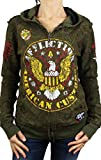 Affliction Women's Highway Patrol Reversible Zip Hoodie Military Green Sweatshirt MD