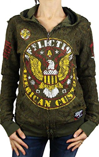 (Affliction Women's Highway Patrol Reversible Zip Hoodie Military Green Sweatshirt MD)