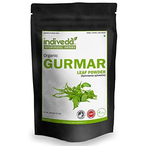 Organic Natural Gurmar (Gymnema Sylvestre) Herbal Powder(3 X 100Grams)(Pack of 3, 100Grams Each) by Indiveda for Supports Blood Sugar Levels Regulation (Sugar-Destroyer)(Sweet Balance)