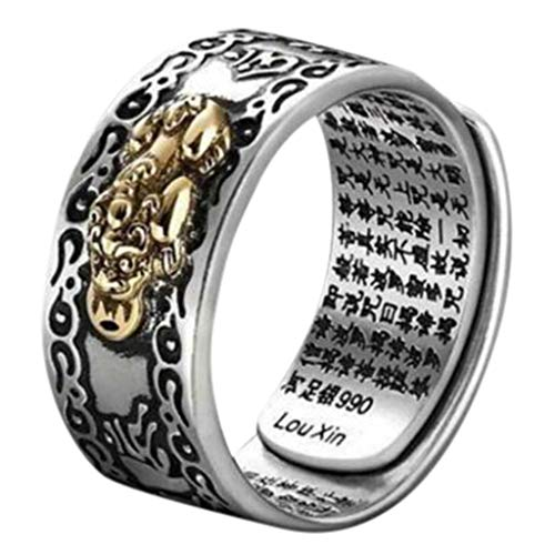 Ebelth✿Pixiu Charms Ring Feng Shui Lucky Wealth Buddhist Jewelry Adjustable Rings (B:Women)