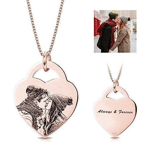 (LONAGO 925 Sterling Silver Personalized Photo Necklace Heart Footprint Custom Engraved Pendant Tag Christmas Birthday Valentine's Gifts for Women (Heart-Rose Gold Plated,)