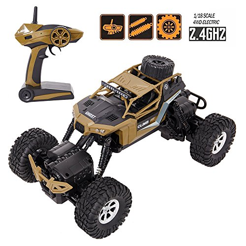 COLORTREE Electric RC Car 1:18 Remote Control Vehicle 2.4Ghz Off-Road Rock Crawler All Terrain Double-turn Waterproof Truck for Kids (Radio Control Truck Pulling)