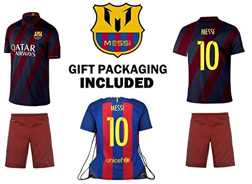 JerzeHero Lionel Messi #10 Kids Youth 3 in 1 Soccer Gift Set ✓ Soccer Jersey ✓ Shorts ✓ Jersey Backpack ✓ Home or Away ✓ Short Sleeve or Long Sleeve (YL 10-13 yrs, Home Short Sleeve)