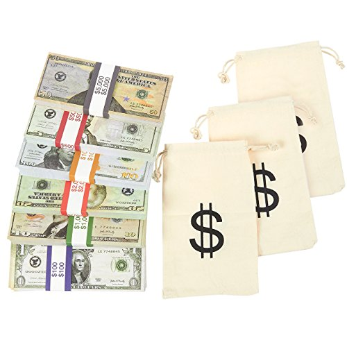 Play Money - Real Looking Double Sided Prop Money - Set of $1, $5, $20, $50, $100 Dollar Bills Full Print Paper Money Cash Stack for Movie; Pranks; Advertising, Novelty, Money Bags Included