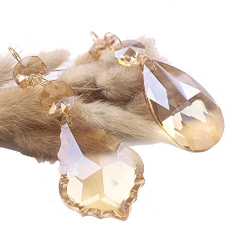 De Art Pendant Crystal (BIHRTC Pack of 12 Amber Crystal Chandelier Prisms Pendants Glass Pendants Beads (6pcs Teardrop + 6 pcs Maple Leaf Crystal Pendants))