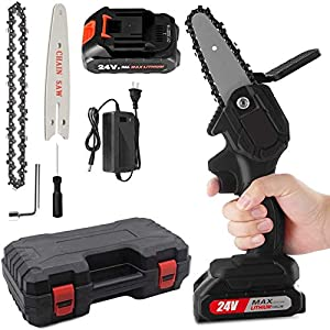 Mini Chainsaw, 4-Inch 24V High Power Chainsaw, with 1 Batteries and 1 Chains & Handy Case, Household Cordless Portable…