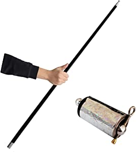 OUERMAMA Black Magic Cane Metal Appearing Cane with Video Tutorial and Free Gloves, Pocket Staff Magic Tricks