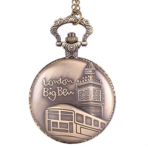 Antique Bronze Flip-Open Quartz Pocket Watch Pendant with Chain Necklace London Big Ben Design