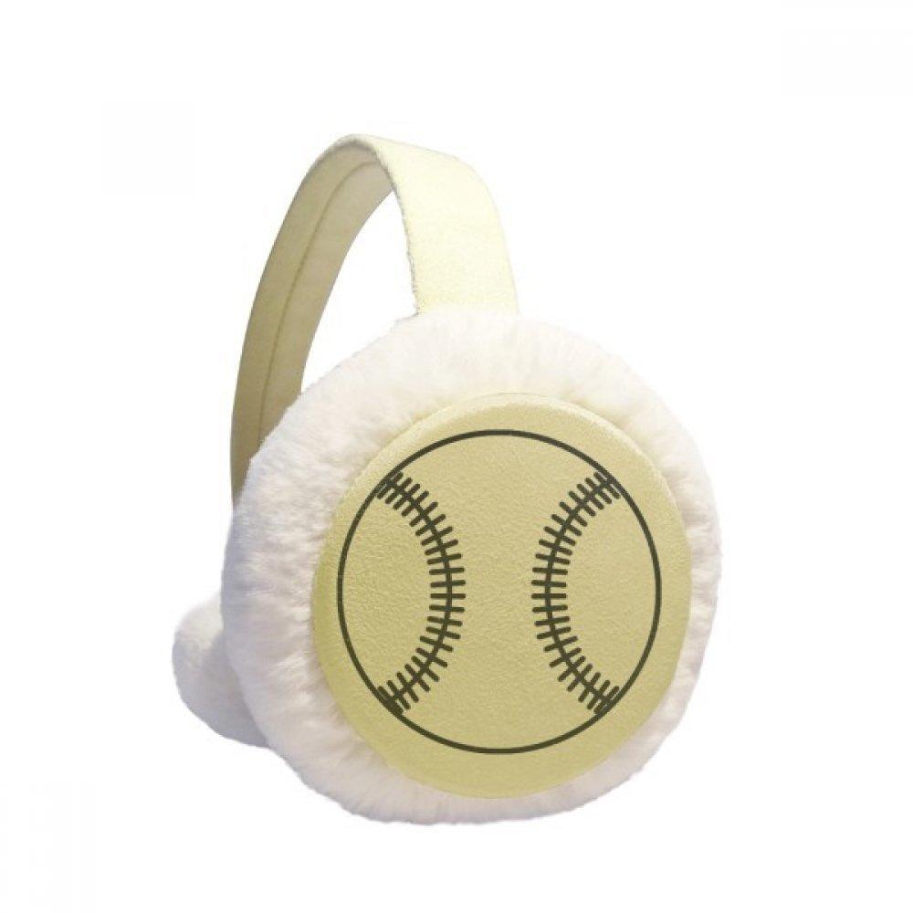 Baseball Sport Line Drawing Pattern Winter Earmuffs Ear Warmers Faux Fur Foldable Plush Outdoor Gift