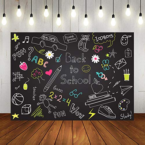 Back to School Backdrop Blackboard Colorful Chalk Drawing Classroom Background for Kids Back to School Theme Party Decorations Photography Backdrops 7x5ft]()