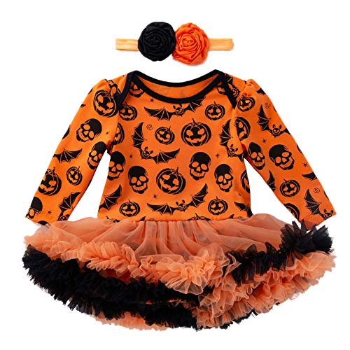 ED expres Toddler Baby Girls Halloween Pumpkin Bow Party Jumpsuits Dress+Headhand Clothes Dresses 2PC -