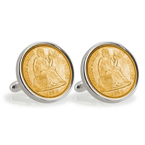 American Liberty Cufflinks (American Coin Treasures Gold-Layered Civil War Seated Liberty Silver Dime Sterling Silver Cuff Links)