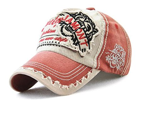 Tmrow 1pc Cotton Baseball Cap Embroidered Hat for Adjustable Buckle Back Ball Cap Women Embroidery UV Sun Hat,Red Wine
