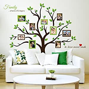 Amazoncom Timber Artbox Large Family Tree Photo Frames Wall Decal