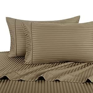 Stripe Taupe Split-King: Adjustable King Bed Size Sheets, 5PC Bed Sheet Set, 100% Cotton, 300 Thread Count, Sateen Striped, Deep Pocket, Deep Pocket, by Royal Hotel