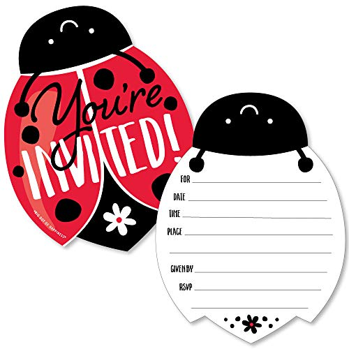 Happy Little Ladybug - Shaped Fill-in Invitations - Baby Shower or Birthday Party Invitation Cards with Envelopes - Set of 12 - Ladybug Birthday Party Invitations