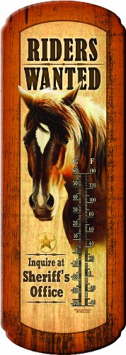 Castle Tin - Rivers Edge Riders Wanted Nostalgic Tin Thermometer