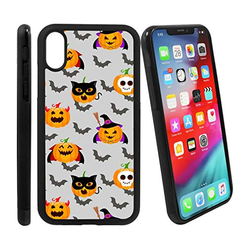 [Halloween Evil pumking Wearing Witch hat and Flying bat] Compatible with Apple iPhone Xs Max, Non-Slip Soft Rubber Side & Hard Back Case Cover Shell Skin]()