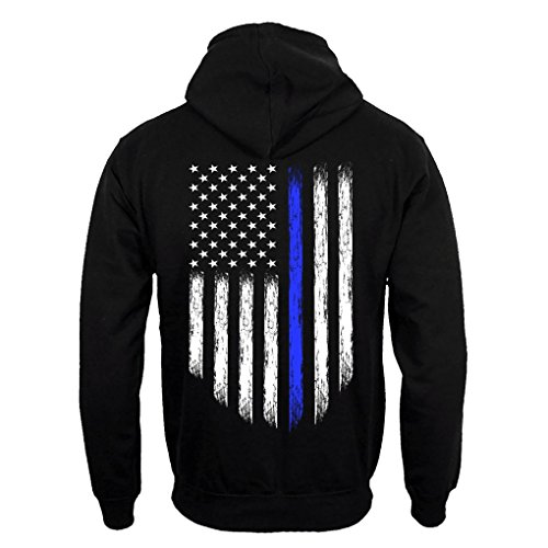 (Thin Blue Line USA Flag Police Men's Hoodie Sweatshirt (4XL))