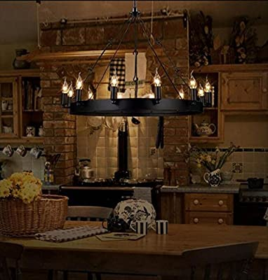 ULEIS American vintage industrial dining table-style wrought-iron chandelier 12 Knights candle chandelier-style ring black wrought iron candle chandelier