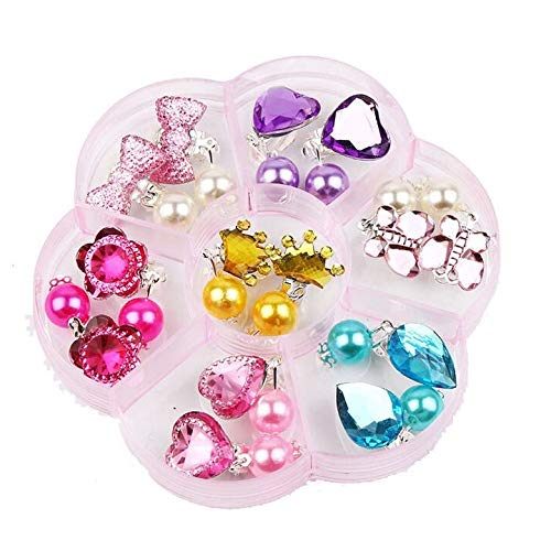 Chris.W 7 Pairs Girls Clip-on Earrings Pretend Princess Play Jewelry Earring in Pink Box, Kids Party Favors