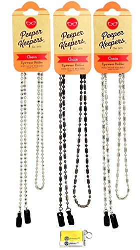 Eyeglass Retainer & Sunglass Holder By Peeper Keepers Chain, Assortment(1), 3pk mix | w/Microfiber Cloth & Screwdriver