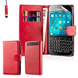 32nd® Book wallet PU leather flip case cover for BlackBerry Classic Q20 - Red