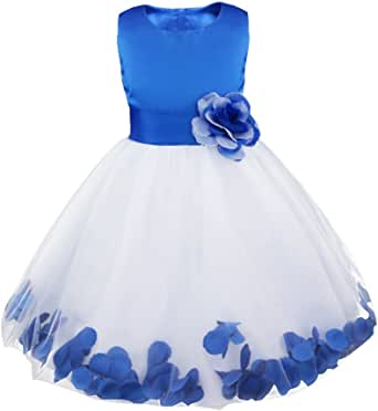 iEFiEL Girls Petals Tulle Princess Wedding Pageant Party Flower Girl Dress
