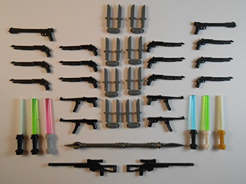 OnQbricks Guns for Lego Minifigures. Lot of 43. New!! Sniper rifle shotgun GLOW IN THE DARK Star Wars Batman Knifes Indiana Jones Swords Weapons Toys Accessories Lightsabers