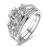 Jiang Guanyu Gy Jewelry Round cut 1ct Cubic-zirconia Three-Stone White Gold Filled Women's Wedding Ring Sets (8)