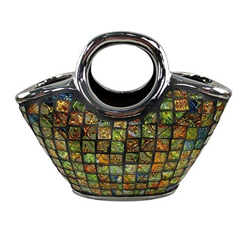 Decorative Ceramic & Glass Purse Floral Vases, 10 3/4