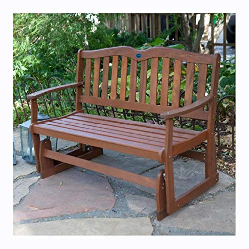 Garden Benches, 4-Ft Outdoor Loveseat Garden Bench Glider with Armrests in Natural Wood Finish