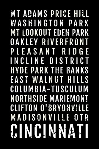 Cincinnati Ohio Print - Neighborhoods - Subway Poster, Boyfriend Gift, Fathers Day, Wall Art, Train Scroll, Bus Scroll, Word Art, ()