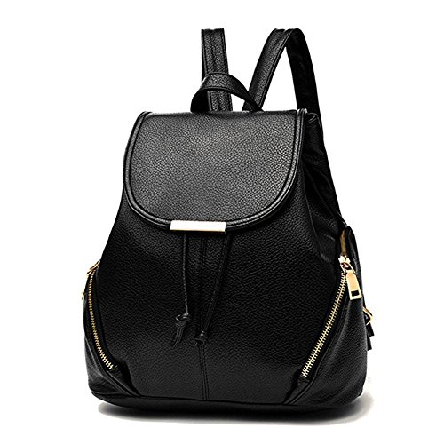 Celsino Backpack for Women Casual Purse Daypack PU Leather School Shoulder Bag Travel Bag Rucksack (Black2)