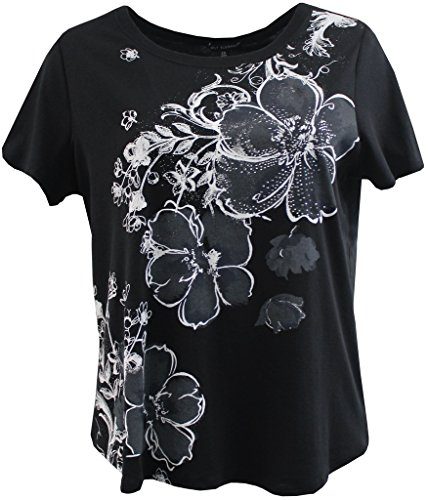 BNY Corner Women's Plus-Size Floral Rhinestone Design Fashion Blouse Tee Shirt Top Solid Black 3X G160.48L
