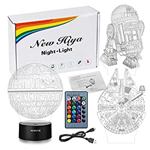 3D Illusion Star Wars Night Light, Three Pattern and 7 Color Change Decor Lamp – Perfect Gifts for Kids and Star Wars Fans