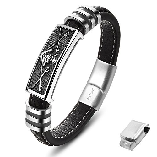 Quality Leather Mens Bracelet Pirate Style with Magnetic Clasp and Extension Buckle Adjustable (8.0 Inch + Extension Buckle)