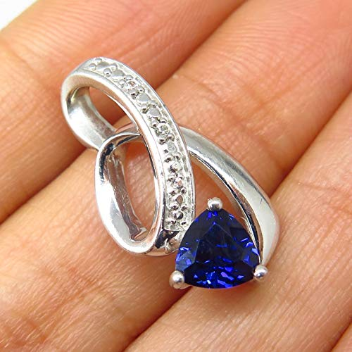 Signed 925 Sterling Silver White & Sapphire Tone C Z Open Swirl Slide Pendant Jewelry Making Supply by Wholesale Charms ()
