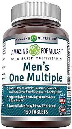 Amazing Formulas Men's One Multiple 150 Tablets - Perfect Blend of Vitamins, Minerals, 25 Million CFU probiotics & Food-Based enzymes for Easy Digestion, Supports Healthy Heart, Sexual,