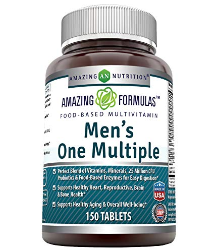 Amazing Formulas Mens One Multiple 150 Tablets - Perfect Blend of Vitamins, Minerals, 25 Million CFU probiotics & Food-Based enzymes for Easy Digestion, Supports Healthy Heart, Sexual,