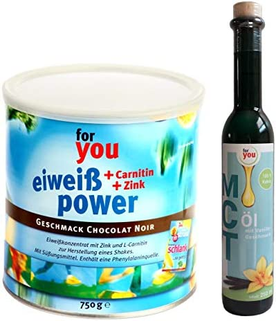 for you Power Eiweiß Chocolat Noir + MCT-Öl Vanille im Set I 1x 750g Fitness Eiweisspulver mit Carnitin Whey-Protein Sojaprotein Milchprotein I 1x 250ml MCT Öl vegan auf Basis 100% Kokosöl