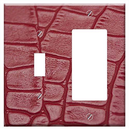 1-Toggle 1-Rocker/GFCI Combination Wall Plate Cover - Skin Pattern Snake Crocodile Macro Wallpaper ()
